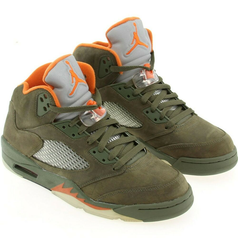 5195234a1e0377 Details about US sz 9.0 AIR JORDAN 5 RETRO LS ARMY OLIVE SOLAR ORANGE BLACK  314259 381