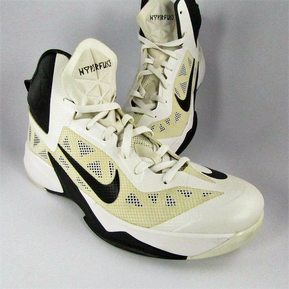 b85f11b80884 Details about Nike Air Zoom Hyperfuse Basketball Shoes Mens Size 11.5M  White Sneakers 615496