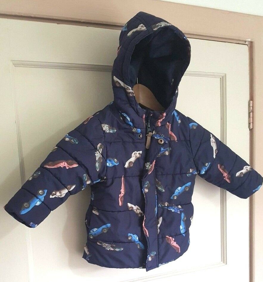 5dfa204329a9 Next Navy Blue Car Print Coat Age 12-18 Months Warm Winter ...