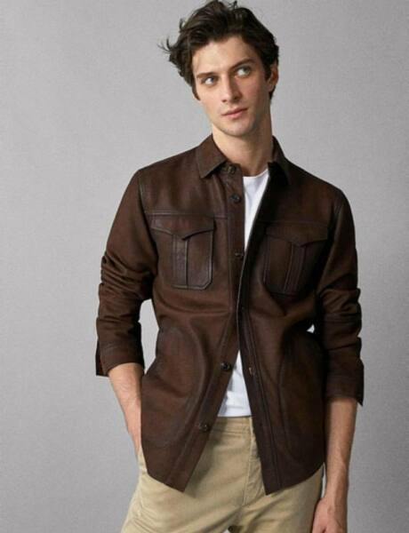 Mens Shirt Jacket Brown Real Soft Genuine Lambskin Washed Waxed Leather Shirt