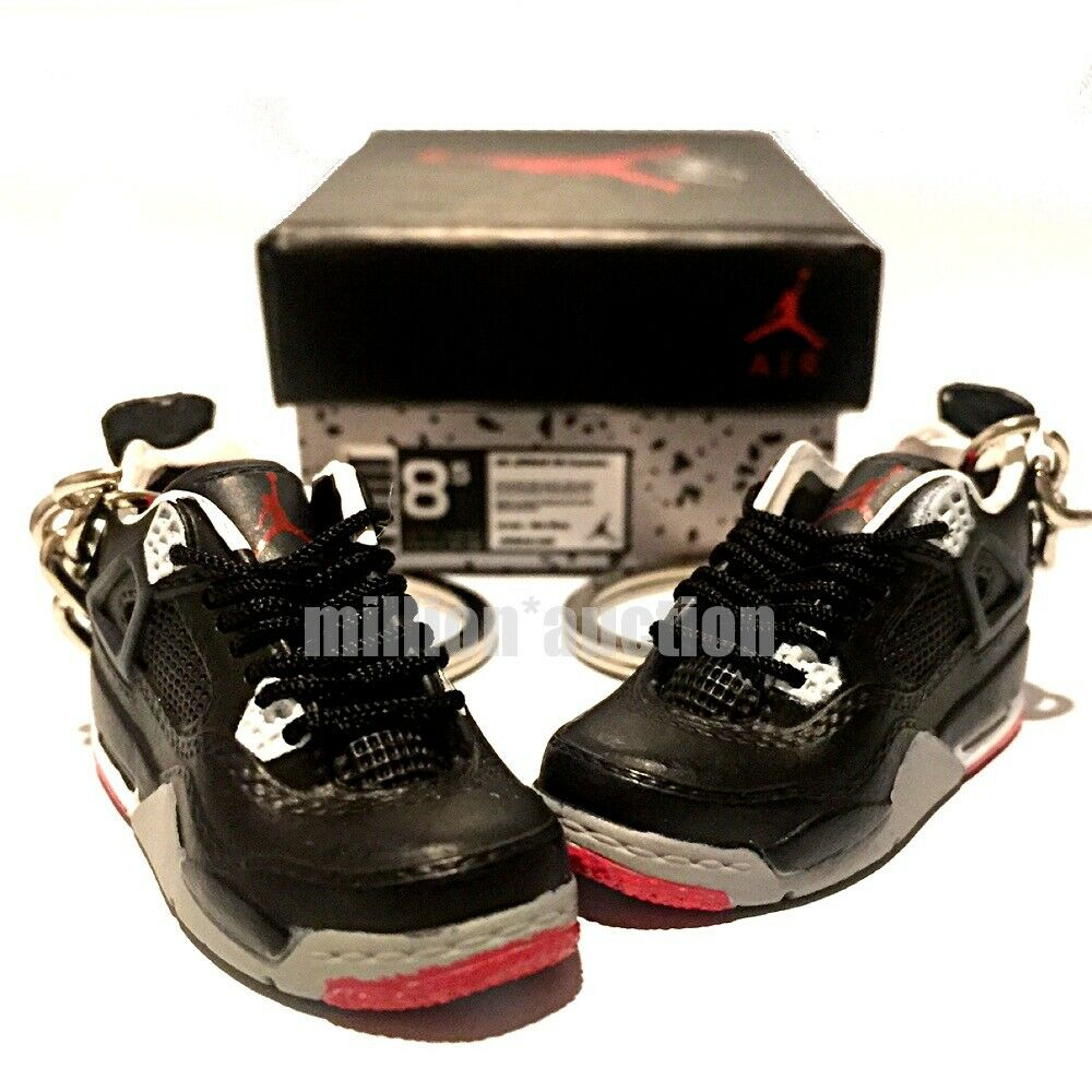more photos 753fd 063fc Details about AIR JORDAN IV 4 RETRO BRED BLACK RED SNEAKERS 3D KEYCHAIN  FIGURE SHOES BOX 1 6