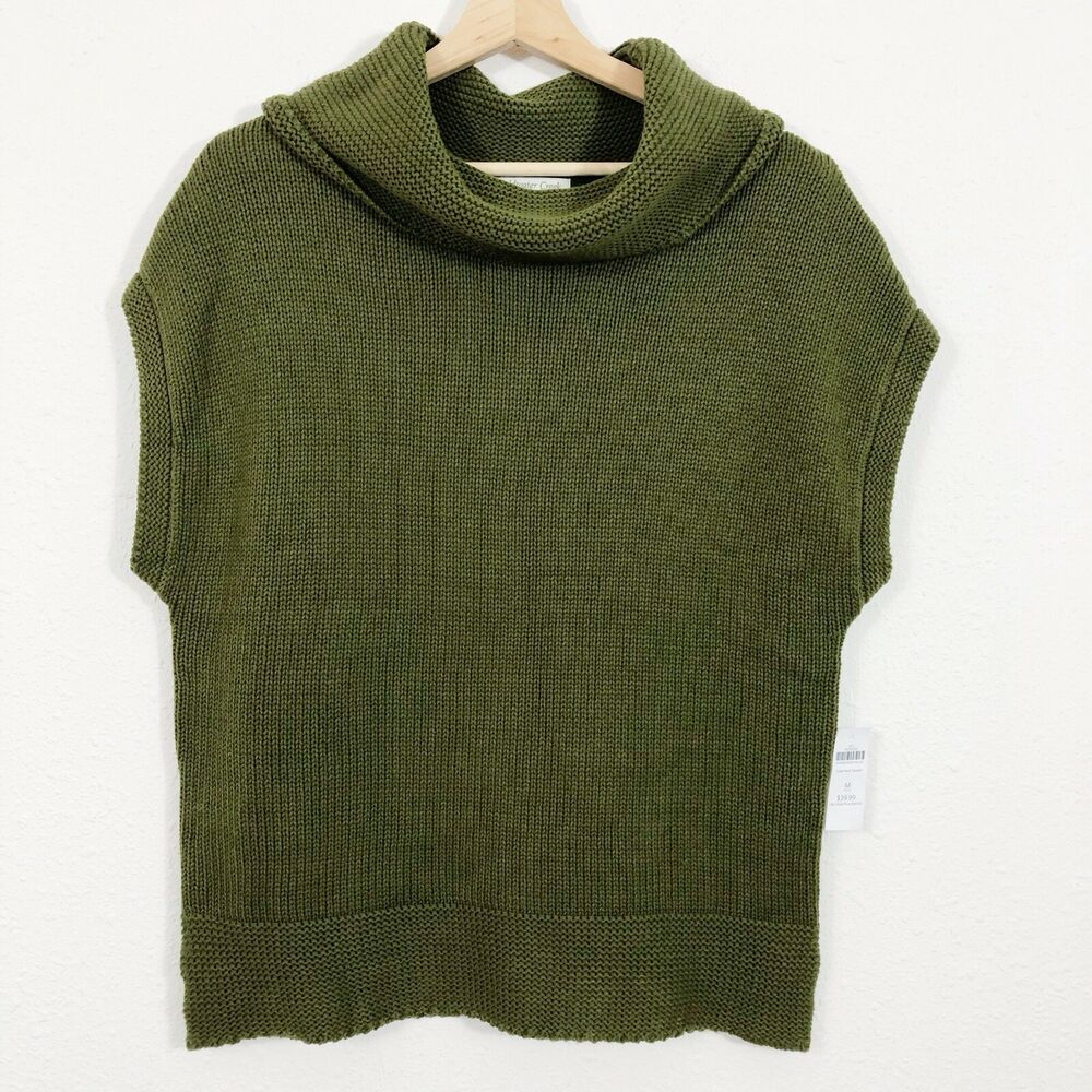 355f7a5c1fda Details about Coldwater Creek Womens Green Sleeveless Cowl Neck Sweater M  10-12  39.99