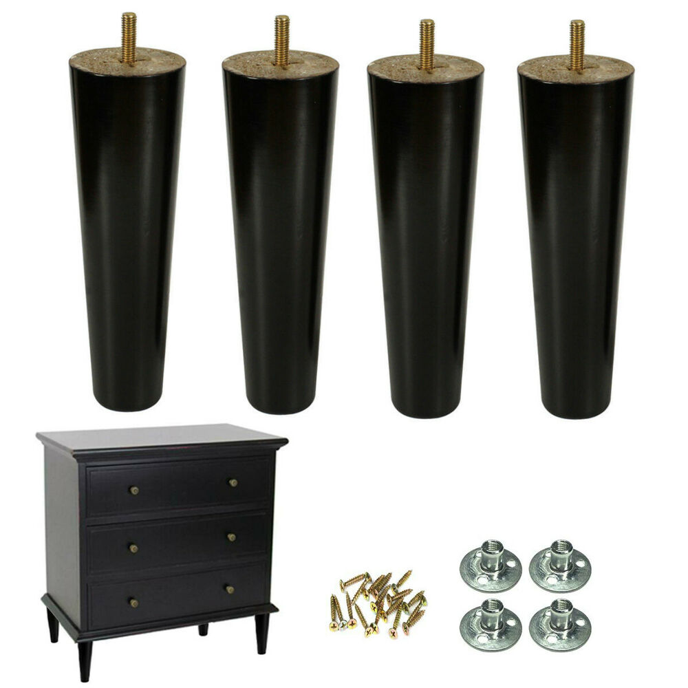 Details About Wood Furniture Legs 8 Inch Couch Set Of 4 Mid Century Black Replacement