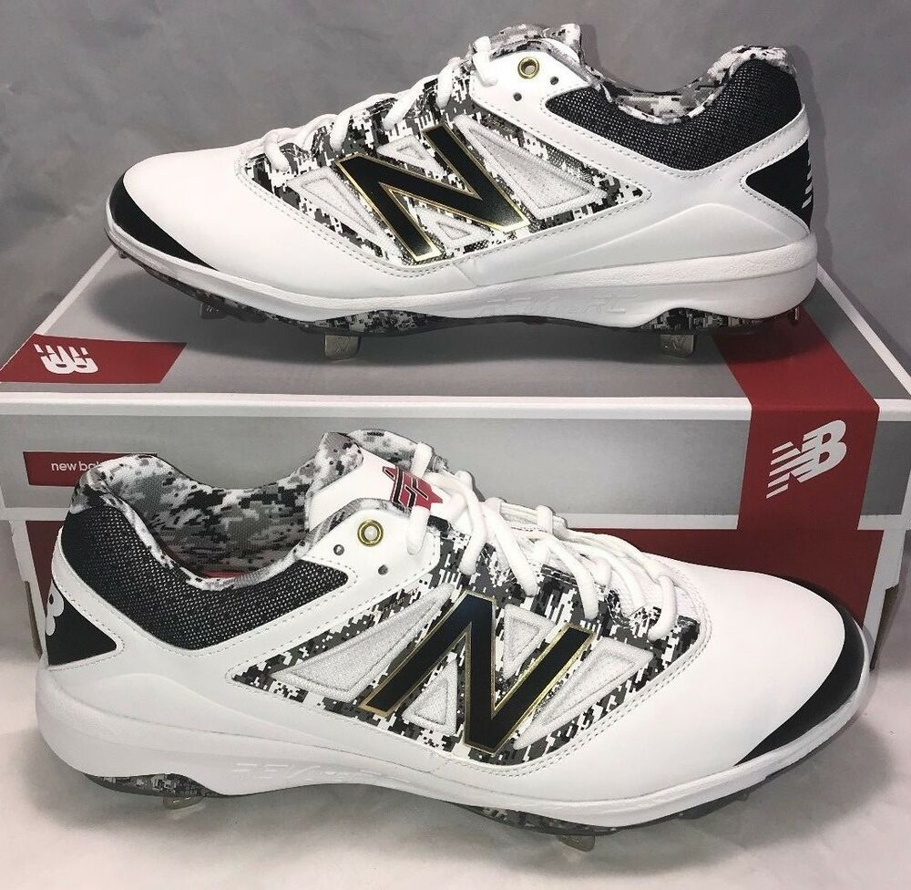 ff4e8993ef09 Details about New Balance Size 12.5 Dustin Pedroia Player Edition Baseball  Cleats White Metal