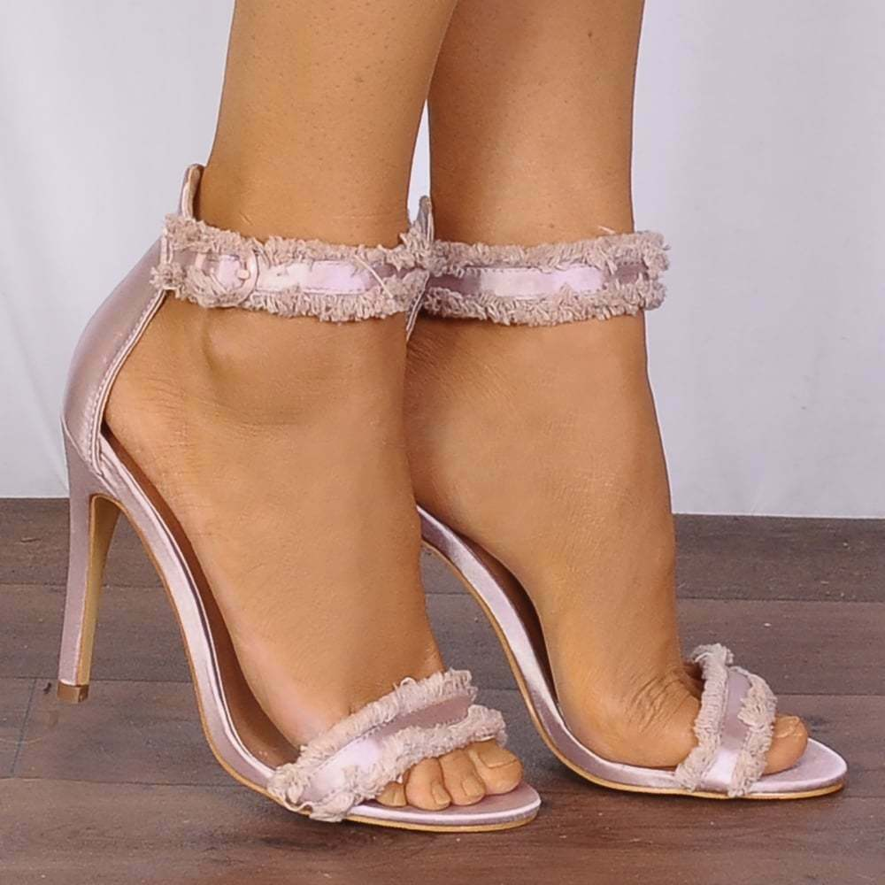 9c344903b1d Details about PINK CHAMPAGNE FRINGED SATIN ANKLE STRAPS STRAPPY SANDALS  HIGH HEELS PEEP TOES
