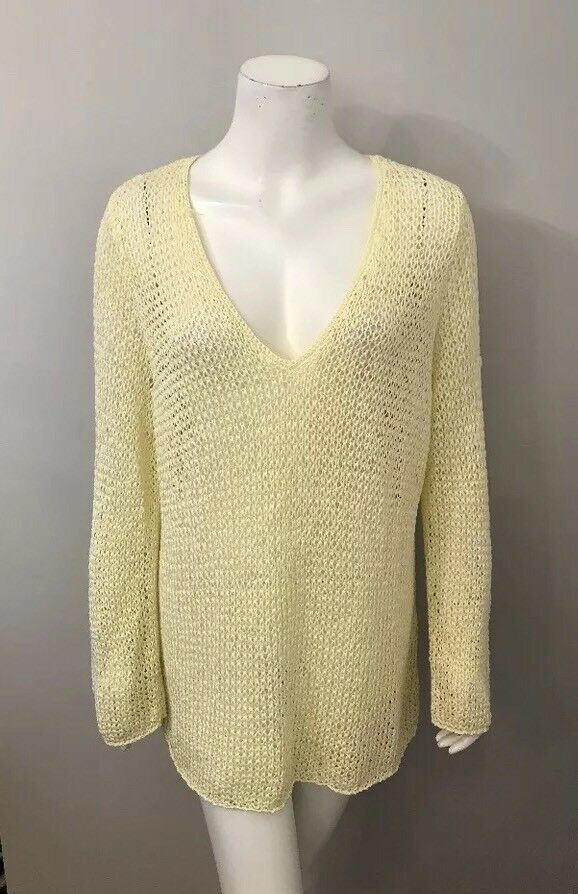 92fb5da9660 Details about J. Jill Ivory Open Knit Cotton Blend V-Neck Sweater Size XL