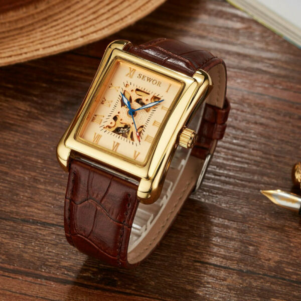 SEWOR Men Casual Automatic Mechanical Watches Rectangle Leather Wristwatch SWQ54