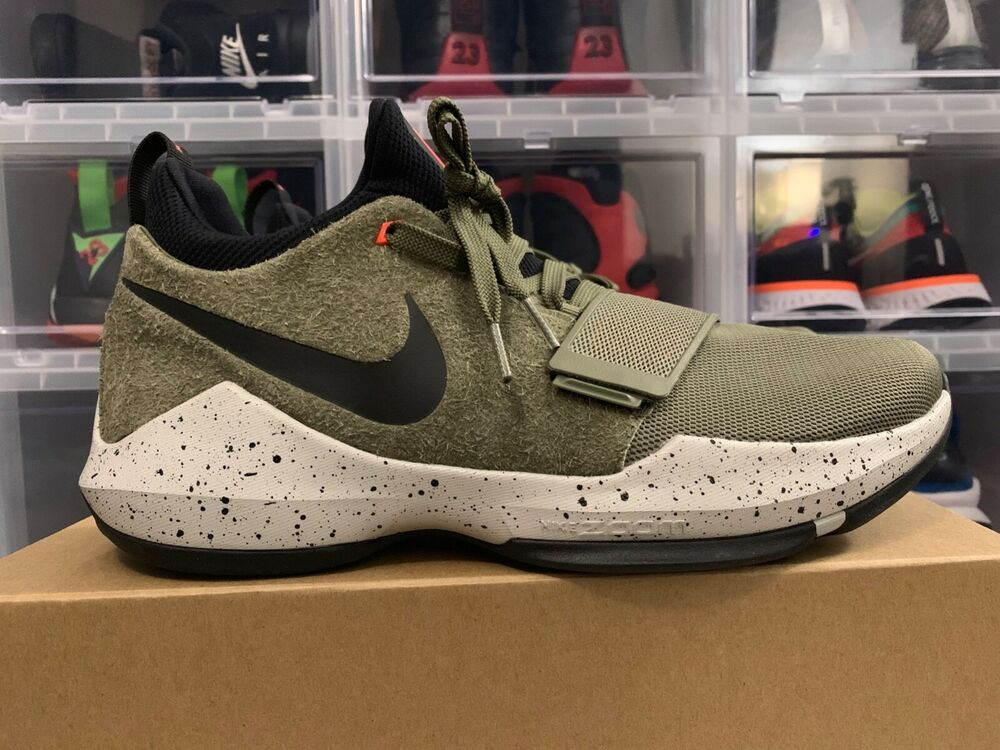 4abdabca92ad Details about Nike PG 1 Elements Basketball Paul George Olive Green Black   911085-200  sz 11