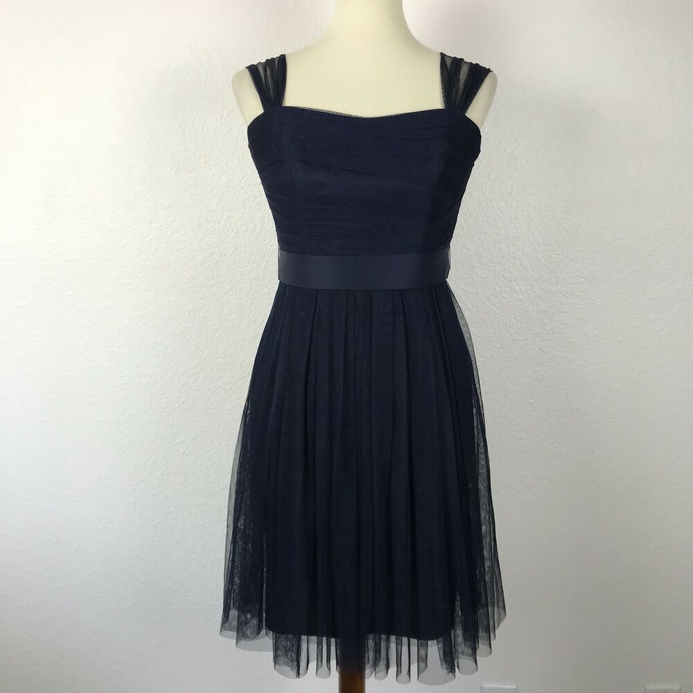 White By Vera Wang Bridesmaid Prom Cocktail Navy Tulle