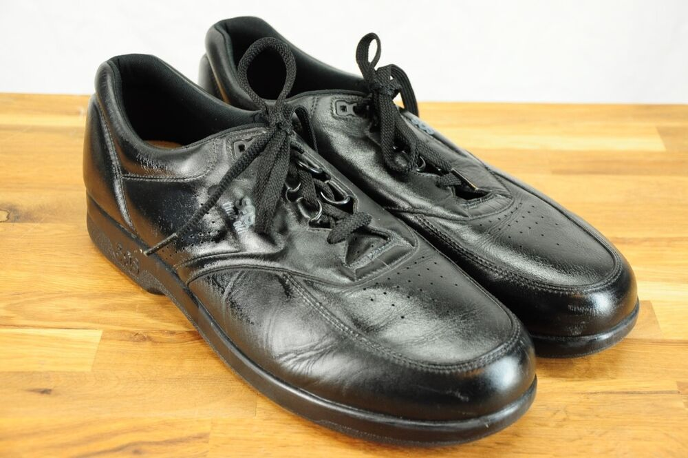 804213adfa Details about NEW SAS Time Out Tripad Comfort Diabetic Approved Black  Leather Walking Shoe 14S