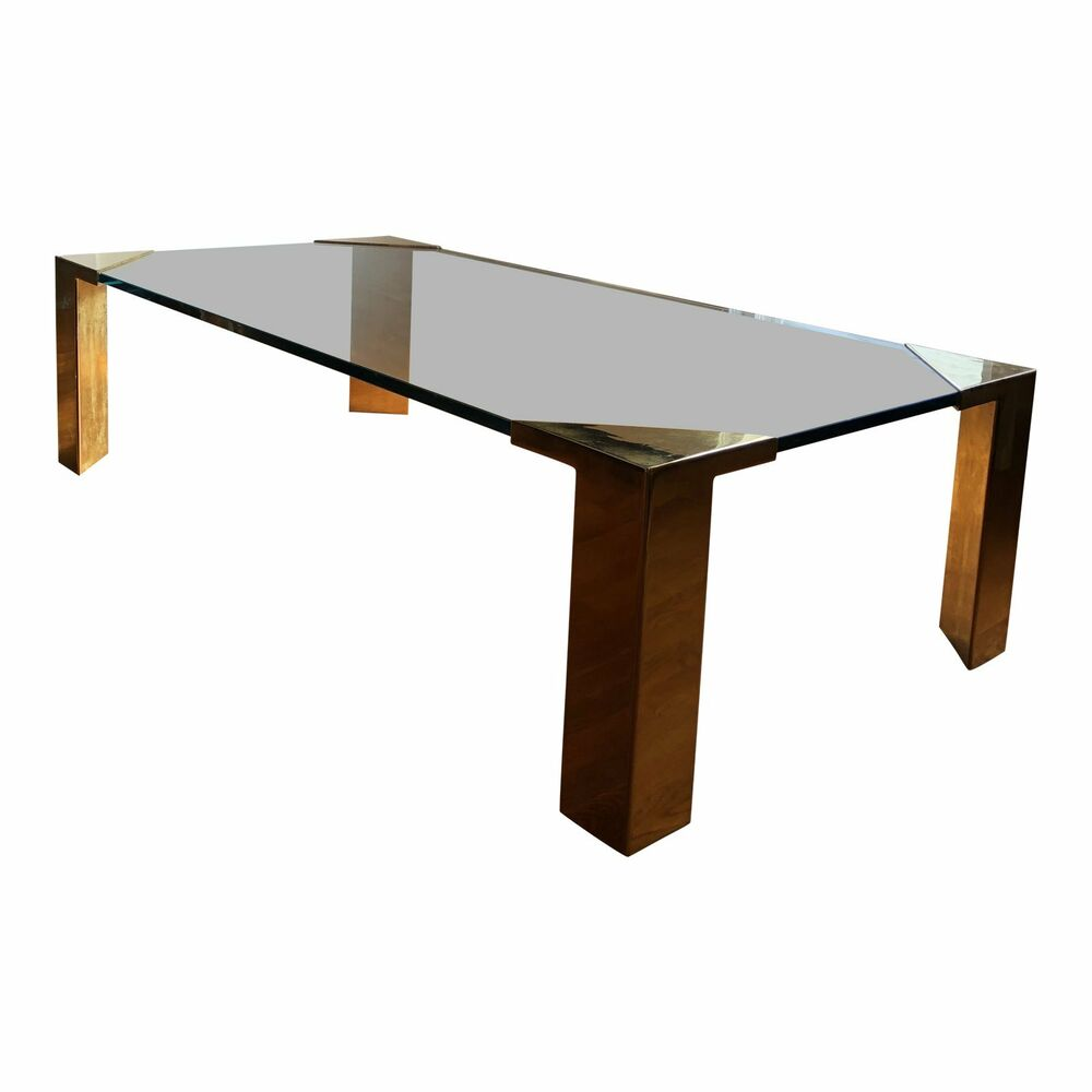 Details About Post Modern Cocktail Coffee Table Brass Glass