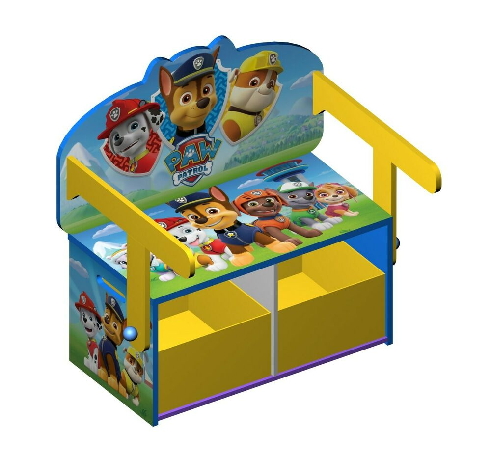 Paw Patrol Toy Organizer Bin Cubby Kids Child Storage Box: Paw Patrol Wooden 3in1 Convertible Toy Box Bench Organiser