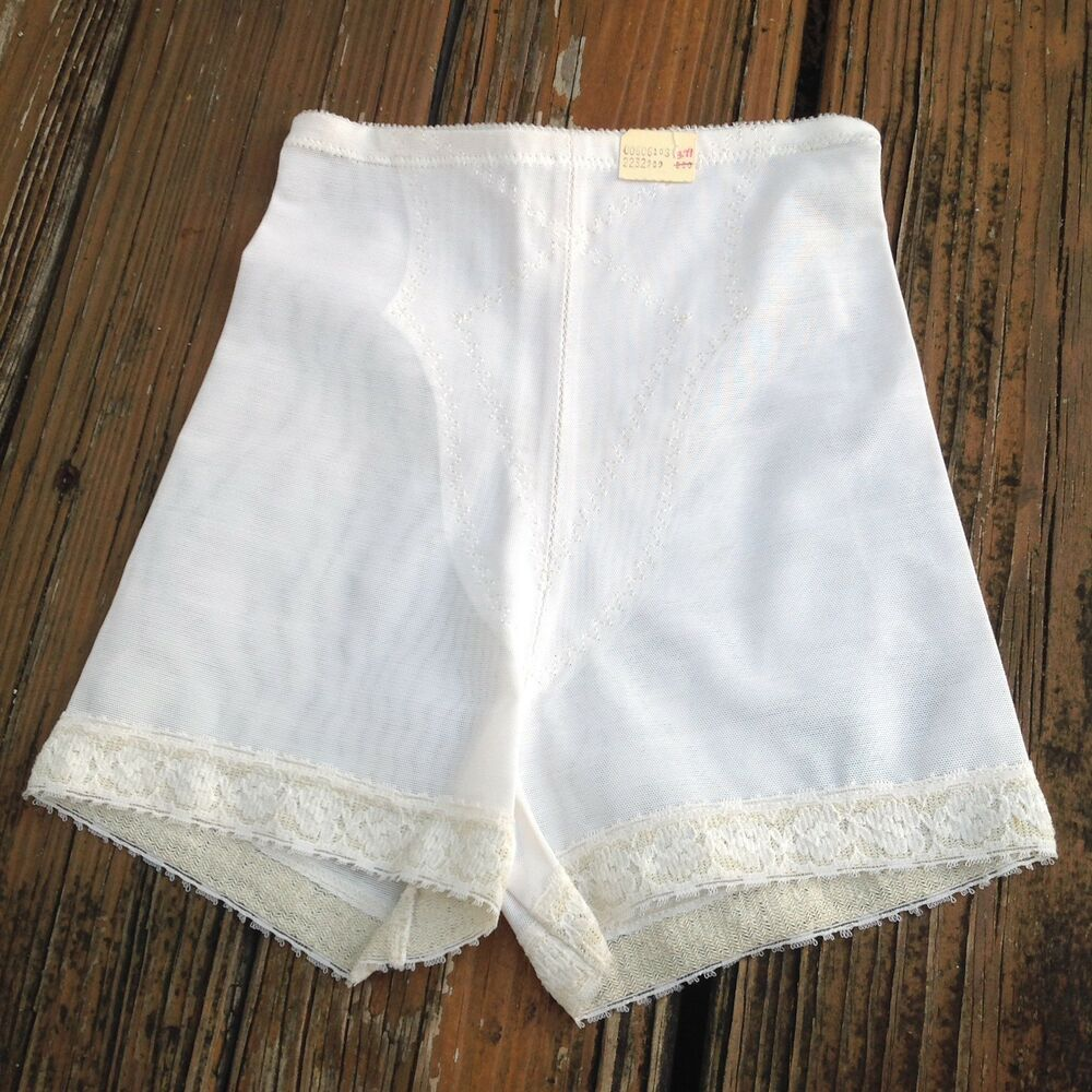 16081e8b86be Details about Vintage White Nylon Granny Panties S Sissy Briefs Undies  Girdle Shaperie Panty
