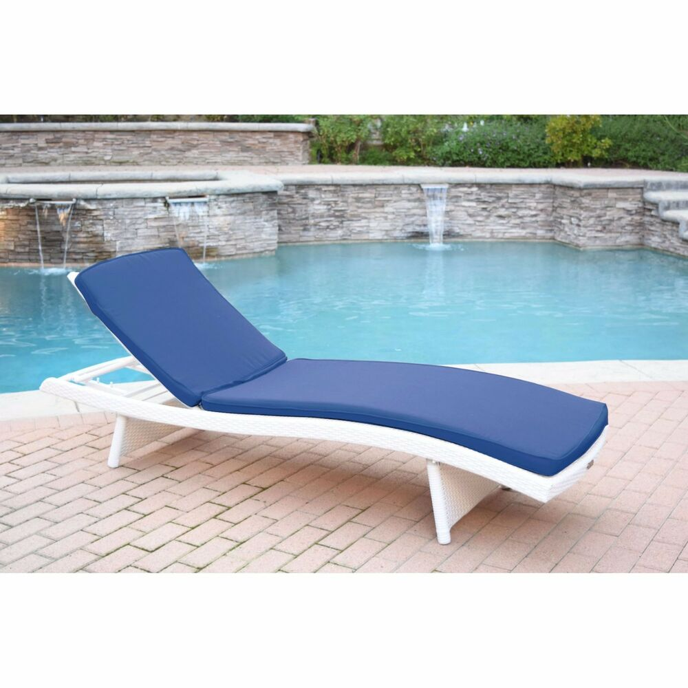 White Resin Wicker Frame Patio Chaise Lounge Outdoor Home