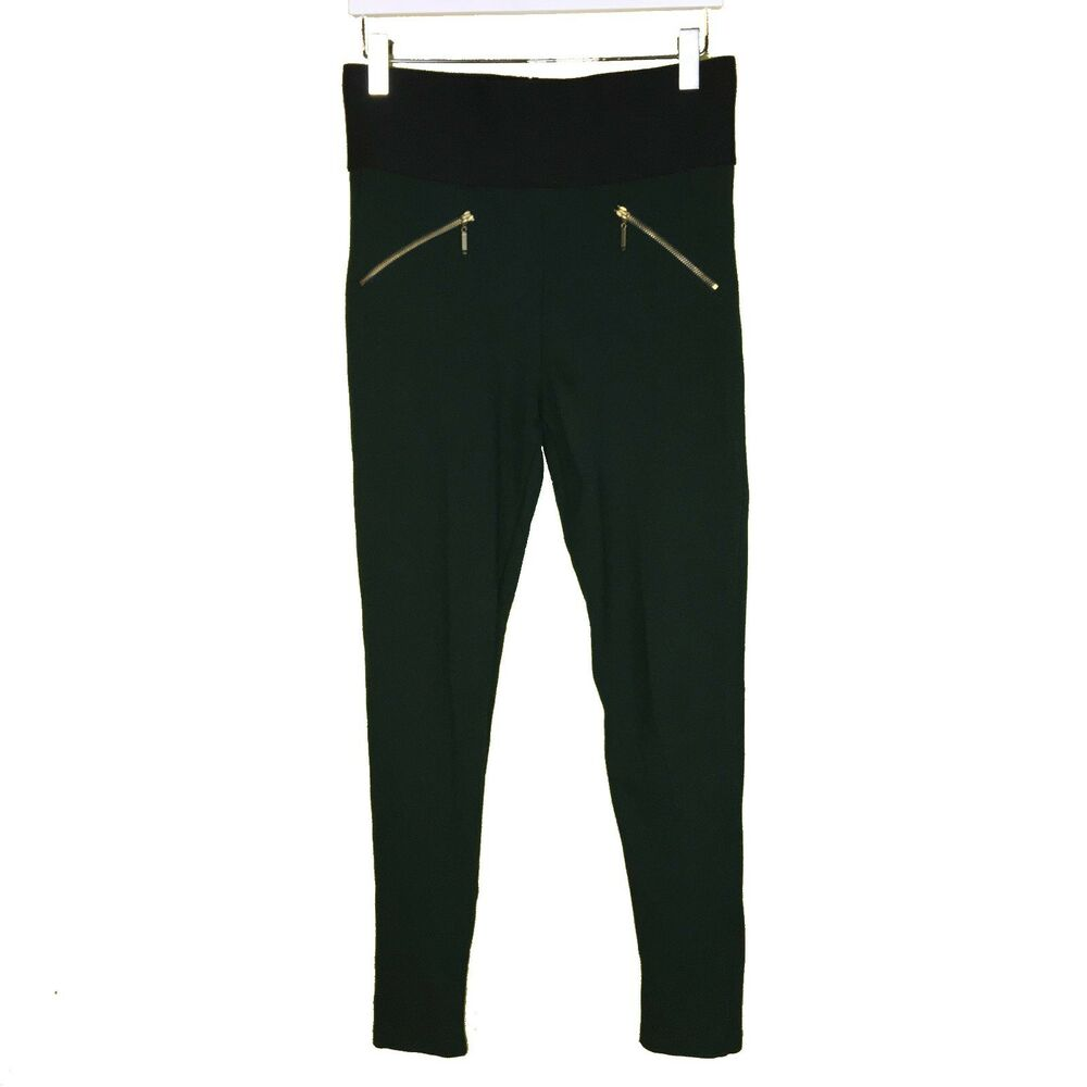 20d2df02 Details about ZARA BASICS Forest Green Stretchy Skinny Pants Gold Zipper  Size M