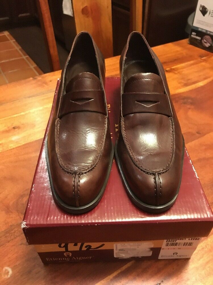 bbee3454180 Details about ETIENNE AIGNER Narrow Leather Penny Loafers Brown Shoes  Women s Size 9.5 (SL)