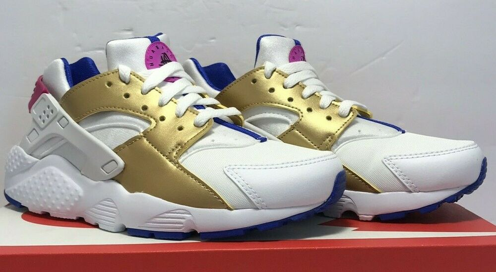 9b36860146 Details about Nike Big Kids Size 6.5Y Huarache Run (GS) White Gold Blue  Athletic 654280-109