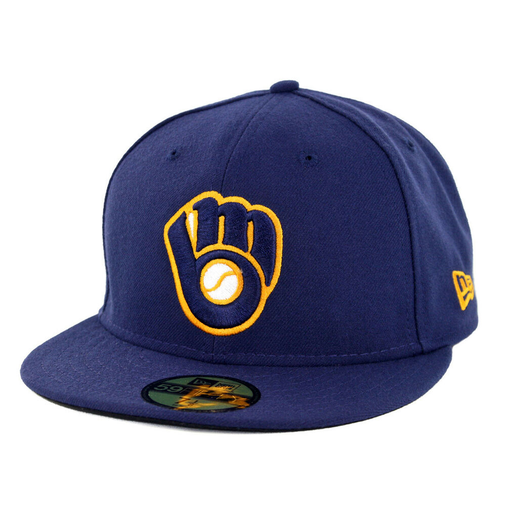 best cheap 13cd2 d1b2e Details about New Era 5950 Milwaukee Brewers ALT 2 Fitted Hat (Light Navy) MLB  Cap