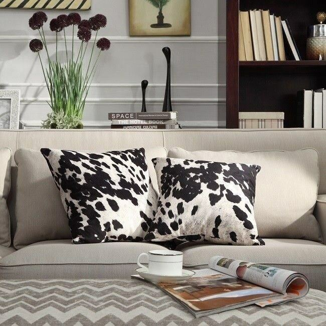 Details About Western Throw Pillows Cow Print Living Room Decor Cowhide  Country Cowboy Set 2