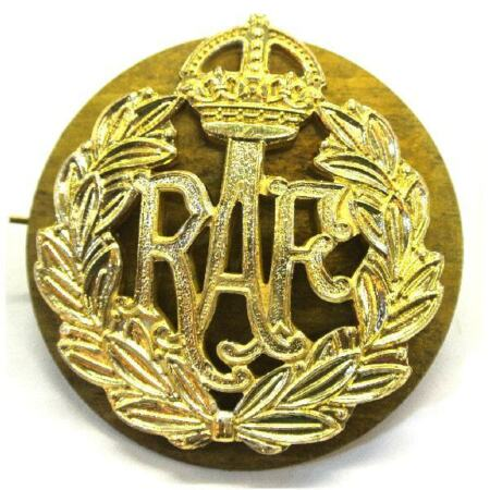 img-Staybright RAF WWII WW2 Cap badge Royal Air Force Kings crown Wartime style
