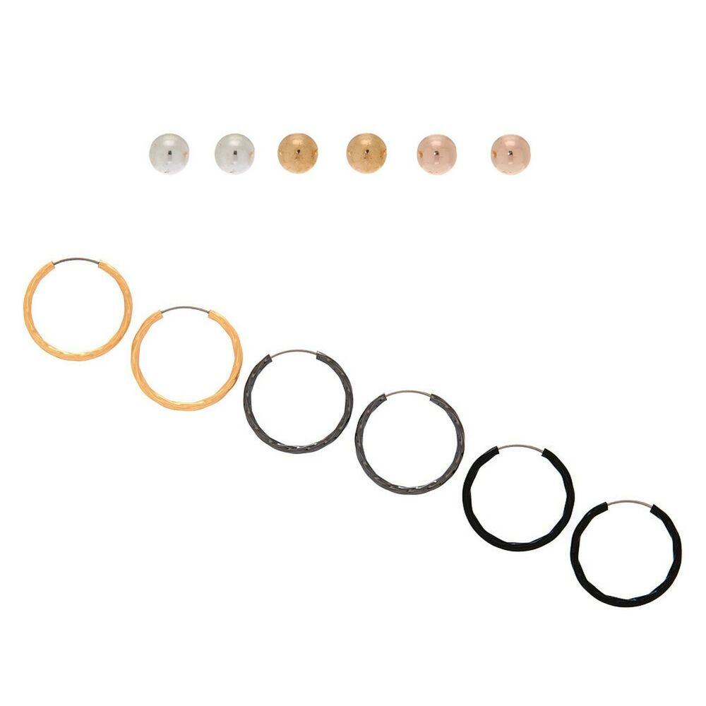 7b352f538 Details about NWT Claire's Girls set of 6 Mixed Metal Balls stud and Hoop  Earrings set 6 pack