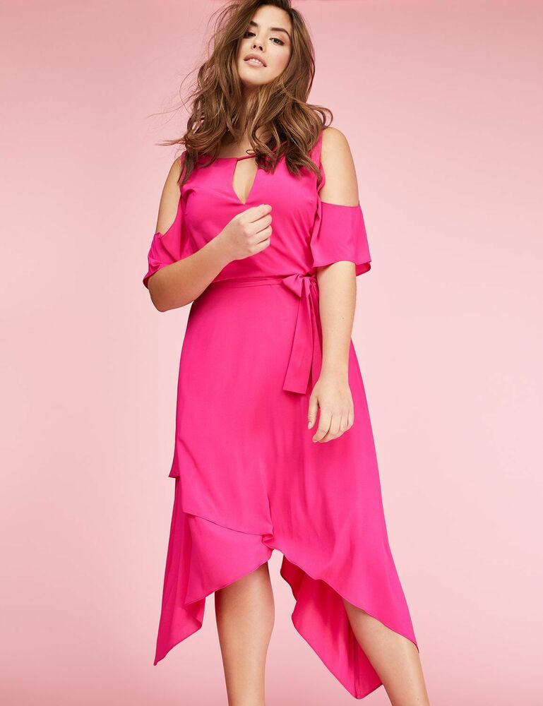 Chiffon maxi dress cold shoulder