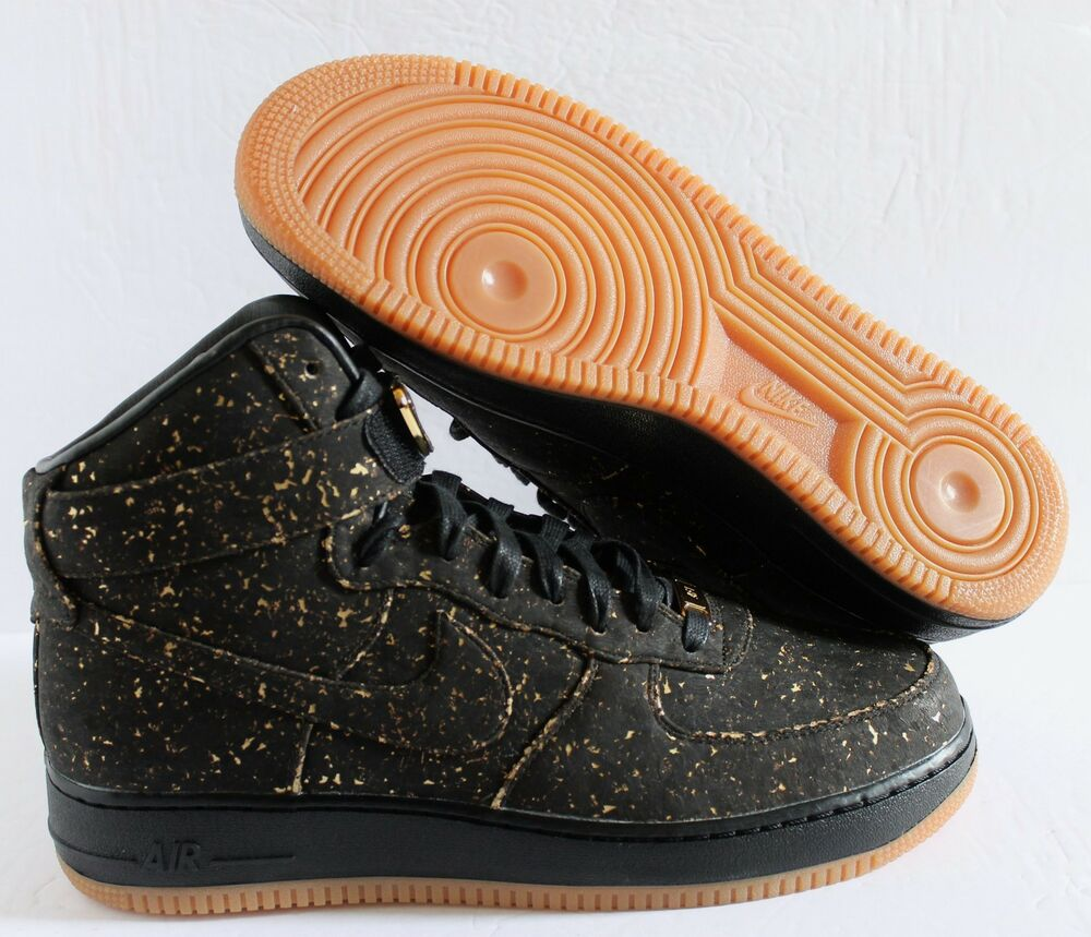 official photos f8a24 242ed Details about NIKE AIR FORCE 1 HIGH CORK ID NBA CHAMPIONSHIP BLACK-GOLD SZ  11  AH5806-994