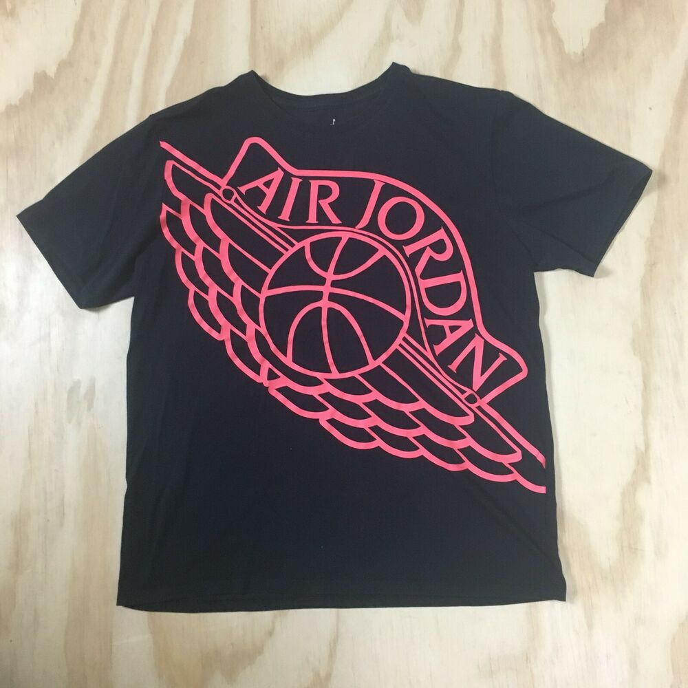 2ab67c450b9c Details about Air Jordan Basketball with Wings Fluorescent Coral on Black T- Shirt Men s XL