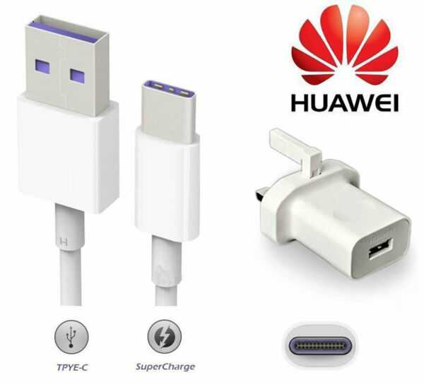 Genuine Huawei Mains Charger Adapter & Type C Data Cable For Huawei P30,P20 Pro