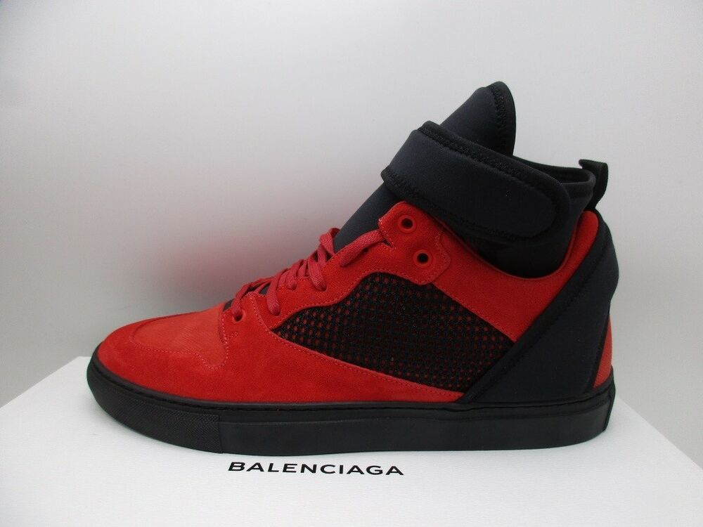 9ee8a4ed9d9 Balenciaga Mens Flame Red Suede High Top Sneakers Shoes 42 | eBay