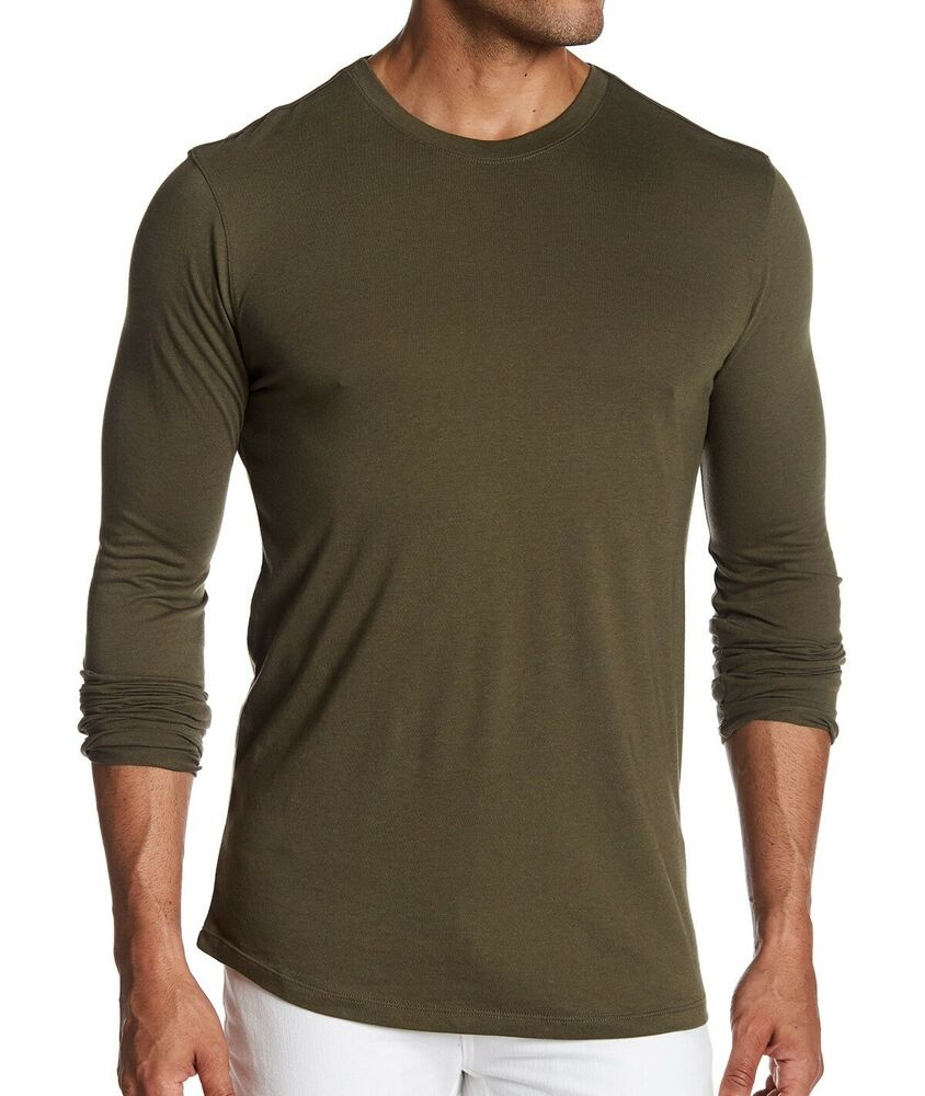 511b049932d2 Details about Helmut Lang Men's Long Sleeve Crew Tee Shirt Noble Jersey  Cotton Army Green