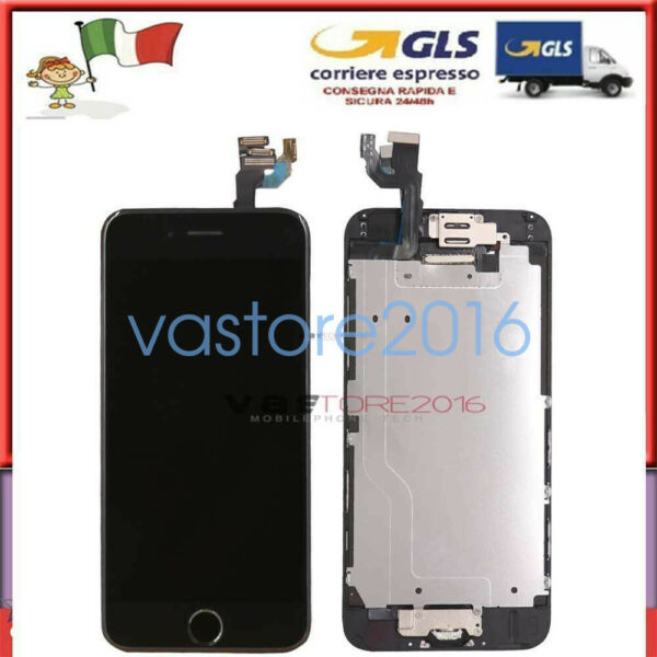 NERO DISPLAY PER IPHONE 6 ASSEMBLATO COMPLETO SCHERMO LCD + Home Button Camera