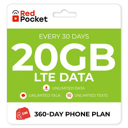 Kyпить $25.83/Mo Red Pocket Prepaid Wireless Phone Plan+Kit: Unlmtd Everything+20GB LTE на еВаy.соm