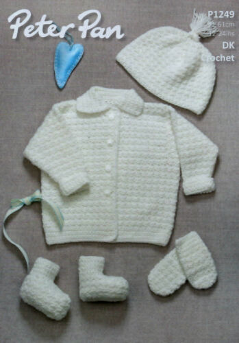 Peter Pan Baby Jacket, Hat, Mitts & Bootess DK CROCHET PATTERN (12