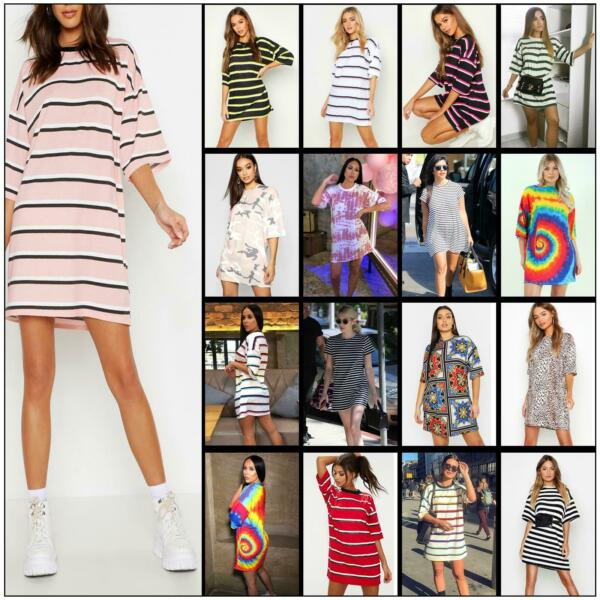 Womens Stripe Printed Baggy Oversized Boyfriend T-Shirt Dress Casual Long Top