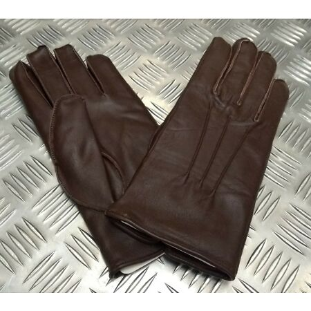 img-Genuine Military Issue Officers Brown Leather Soft Lined 3 Dart Parade Gloves