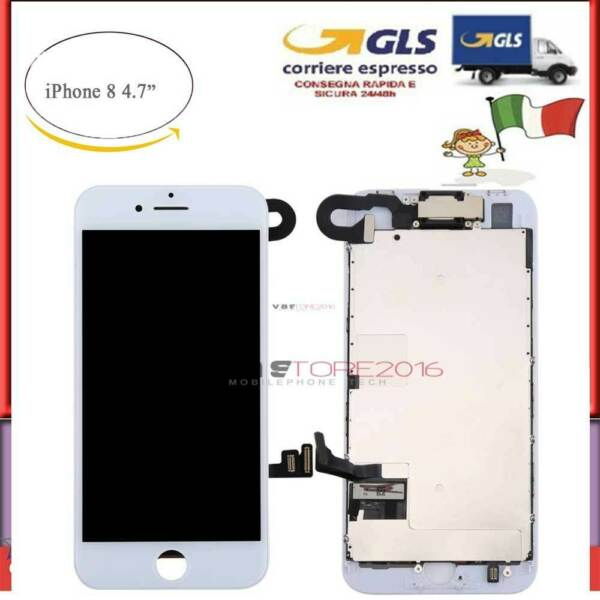 DISPLAY COMPLETO SCHERMO LCD PER IPHONE 8 ASSEMBLATO BIANCO  + Camera + Earpiece