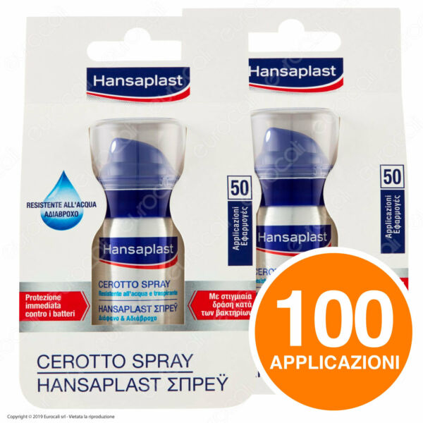 e5a1cdc505 2x 50 applicazioni - HANSAPLAST Cerotto Spray Invisibile Resistente  All'Acqua