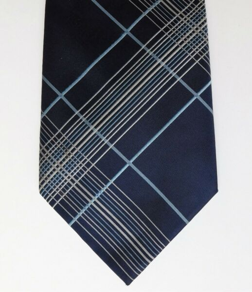 DeHavilland check tie navy blue wide