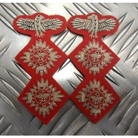 img-Genuine Military Issue Officers Braided 2 Pip & Eagle Insignia patches L & R