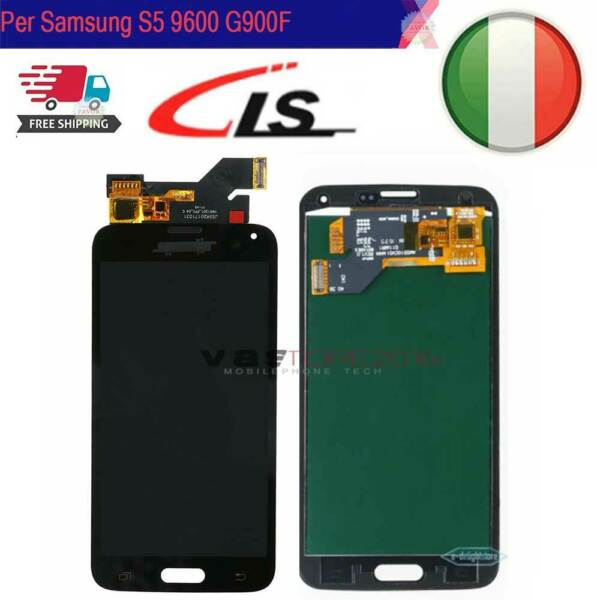 DISPLAY SCHERMO VETRO Per SAMSUNG Galaxy S5 i9600 SM-G900F LCD Touch Screen Nero