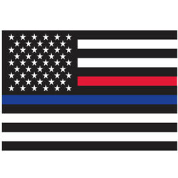 3-Pack Thin Red & Blue Line US Flag Sticker Adhesive Back Decal American Bumper