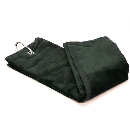 img-Shooting Towel Black 100% Cotton Tri-Fold with Belt loop and Carabiner gun towel