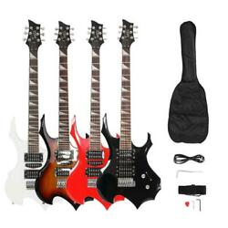 4 Colors Glarry Burning Fire Basswood Right Handed Electric Guitar Bag Set