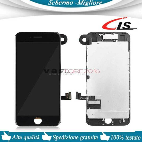 DISPLAY PER IPHONE 7 ASSEMBLATO COMPLETO SCHERMO LCD + Camera + Earpiece NERO