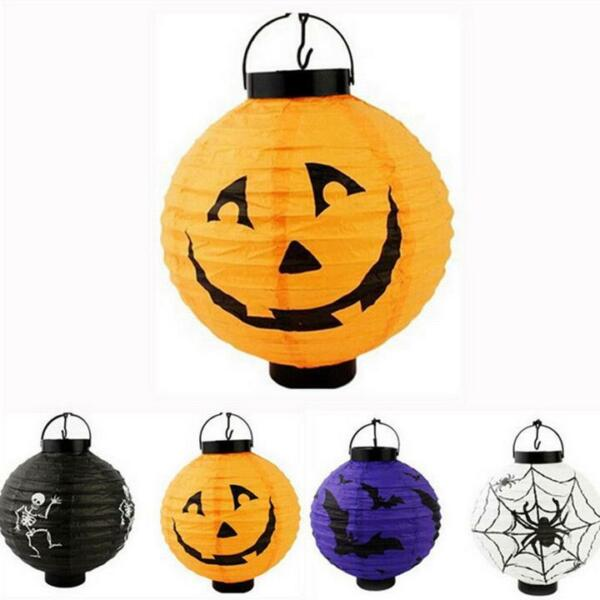 Halloween Citrouille Lanterne Lamp LED Pumpkin Spider Paper Lantern Hanging Lamp