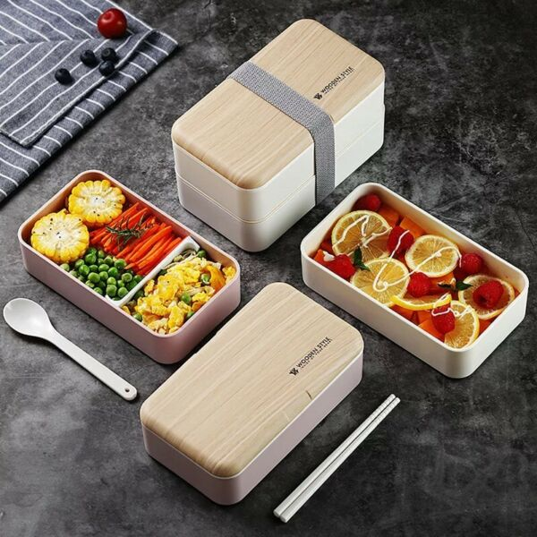 Microwave Lunch Box Japanese Wood Bento Box Portable 2 Layer Container Storage