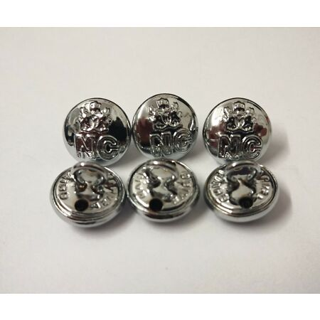img-Genuine Nigerian Constabulary Unity NC Insignia X6 Silver Buttons 12mm V0198