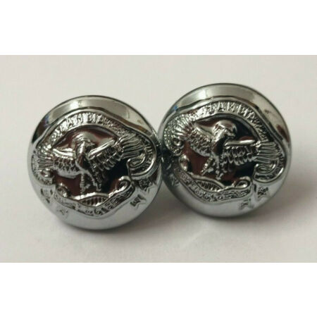 img-Genuine Zambian Police & Security Force Insignia X2 Silver Buttons 13mm V742