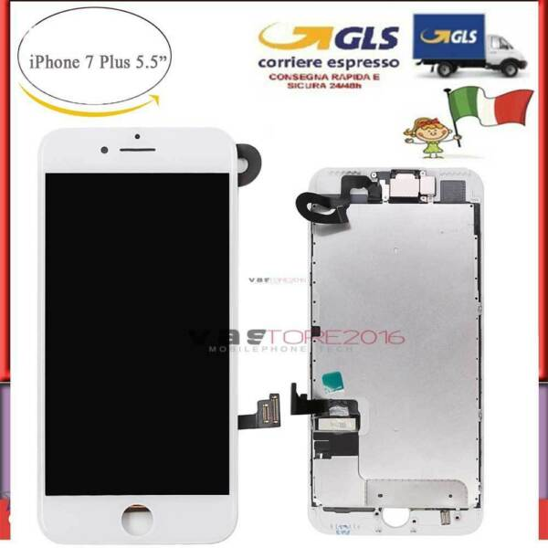 DISPLAY SCHERMO IPHONE 7 PLUS LCD TOUCH SCREEN ORIGINAL COMPLETO BIANCO+CAMERA